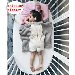 Cobertores de bebê unisex crochet on-line-INS Projeto do coelho Do Bebê cobertor Infantil Menino Menina Unisex cobertores de Crochê Criança De Malha Cobertor Dos Desenhos Animados Dormir Swaddling 6 cores