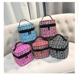 Wholesale Leopard Bags Wholesale - Handbags PINK Makeup Bag Love Pink Cosmetic Bags Double Zipper Handbag Portable Storage Bags 18*18*18cm Secret Nylon 5 Colors Free Shipping