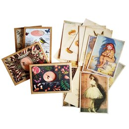 Wholesale Gift Cards Pictures - 16 Pcs lot Classical Postcards Greeting Cards For Swan Lake Background Cards Lovely Picture Party Gift Decoration