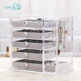 Wholesale drawer organizer acrylic box - Large storage box Acrylic Make Up Organizer Drawer makeup case Jewelry Storage Holder 5 Drawers box