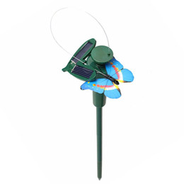 Wholesale Solar Hummingbirds - Wholesale- Funny Solar Toys Flying Fluttering Hummingbird Flying Powered Birds Random Color Solar Toys For Garden Decoration