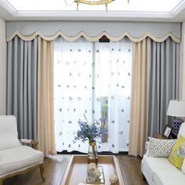2019 tende oscuranti grigio Tende oscuranti moderne per la camera da letto Tinta unita Tende cucite per la finestra del soggiorno Valance personalizzata