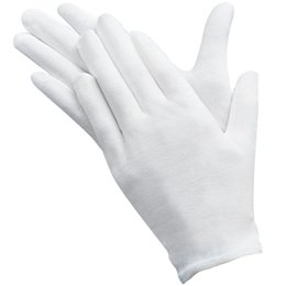 Wholesale medium potato - Slim Lightweight Soft Elastic Cotton Protective Working Glove White Coin Jewelry Silver Inspection Gloves
