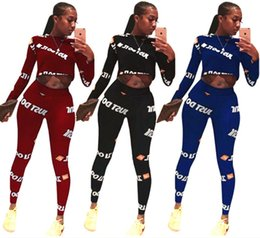 cropped blue leggings Promo Codes - crop top 2 piece set women tracksuit Hoodie leggings outfits print letter sweatshirt tights pullover sportswear shirt pants cheap wholesale