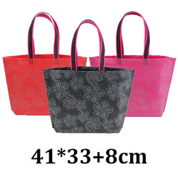 Wholesale printed plastic shopping bags - 41x33cm wholesahle fashion eco friendly printed lace non woven shopping supermarket garment clothes handle tote bag