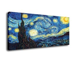 Wholesale van gogh framed print - Cartoon Art Van Gogh Starry Night,Oil Painting Reproduction High Quality Giclee Print on Canvas Modern Home Art Decor E072