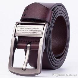 Wholesale leather belts men cheap - New Fashion belts men cool designer buckle belt male leather waist strap business belts mens Gold Silver cheap sale