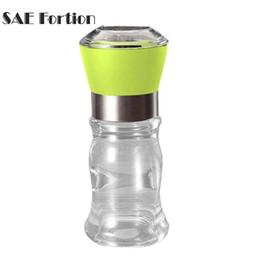 Wholesale premium glass bottles - SAE Fortion Premium Stainless Steel Brushed Mill Salt Pepper Manual Bottle Grinder Glass Bottle Home
