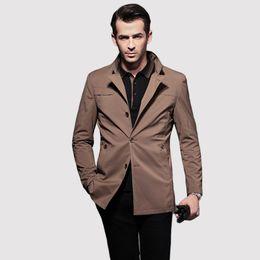 Abrigo informal de negocios online-2016 invierno Trench Coat para hombre abrigo prendas de vestir exteriores Inglaterra estilo Casual Business Coat chaqueta para hombres rompevientos hombresTrench