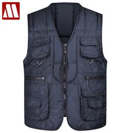 Wholesale mens sleeveless jackets - 2017 Winter Sleeveless Jacket Mens Causal Vest Ultra Light Male Thick Cotton-Padded Jackets M-4XL Plus Size Men Warm Vests F078