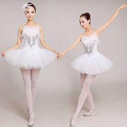 traje de cisne adulto Desconto Adultos branco cisne lago ballet dress mulheres bailarina tutu traje clássico ballet collant stage performance dancewear