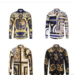 Wholesale Hand Paint Dress - NEW 2018 Luxury men's shirt Medusa printed Retro floral sweats long sleeve cotton shirts for men casual dress shirt social tops