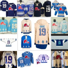 Wholesale ice mike - Quebec Nordiques Joe Sakic 19 Hooded Jersey Stitche Men's Ice Hockey Jersey Hoodies Sports sweater S-3XL Free Shipping