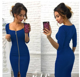 Wholesale full zipper back dress - Wholesale Dress Long Sleeve Party Sexy Dresses Women Clothing Back Full Zipper Robe Sexy Pencil Tight Dress Vestidos Spring Summer Autumn