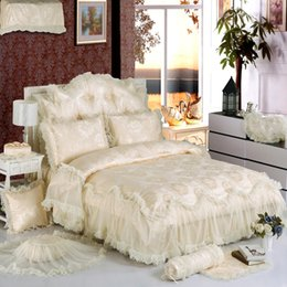 Wholesale Pink Crib Skirts - Wholesale-Biege White Lace Princess Luxury Bedding Set King Queen Full Twin Size Silk Cotton Jacquard Duvet Cover set Bed skirt Bed sheet