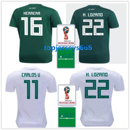 Wholesale h shirts - Mexico soccer jersey + patch 2018 world cup Mexico H. LOZANO CARLOS V J. HERNANDEZ H. HERRERA A. GUARDADO Football shirts