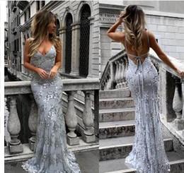 2018 Nuovo modello Sexy scollo a V sirena Abiti da sera lunghi Backless Spaghetti economici Formale Party Dress Vestido De Festa da modello di vestito backless della sirena fornitori