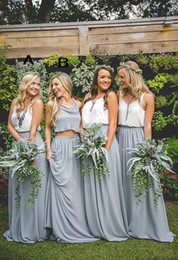 Wholesale Two Color Bridesmaids Dress - Cheap Country Chiffon Grey maxi skirts and strap white tops Bridesmaid Dresses Two Pieces Boho Dresses for Bridesmaid Long