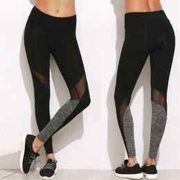 Wholesale High Waist Mesh Leggings - Gray Black Patchwork Mesh women yoga pants sumer quick dry gym fitness yoga legging trousers high waist skinny leggings #10
