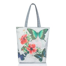Wholesale Green Butterfly Canvas - Butterfly Printed Canvas Tote Female Casual Bags Large Capacity Floral Print Women Single Shoulder Bag Daily Use Canvas Handbags
