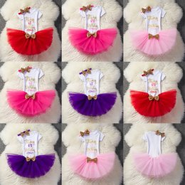 Wholesale Lace Girls Clothing - Baby letter outfits girls Sequins Bow headband+letter romper+TuTu lace skirts 3pcs set Boutique kids Birthday party Clothing Sets C3593