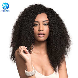 Wholesale Natural India Hair - Brazilian Hair Natural Color 4 Bundles Afro Kinky Curly Human Hair Weave Best Quality Peruvian India remy Hair Extensions