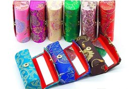 Wholesale Brocade Case - 2017 Retro New Lipstick Brocade Embroidered Flower Design Holder Box with Mirror Cosmetic Bags Multicolors Cases