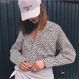 camicia nera batwing Sconti VETRIA stampa lettere LOGO Camicette da donna Camicie nero bianco allentato Lettere shirtfashionable dress Lettere camicia