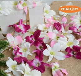 wedding hair corsage Promo Codes - 5colors Artificial silk orchid flower heads cattleya diy wedding flowers wreath hair accessory wrist corsage decorations
