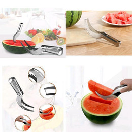 Wholesale Cut Watermelon - Watermelon Cutter Fruit Slicer Stainless Steel Knife Clip Smart Kitchen Paring Cutting Tool Fast Corer Scoop Tool AAA115