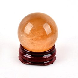 Wholesale Calcite Ball - 30MM natural orange Calcite Sphere Crystal quartz Ball Chakra Healing rock Reiki Stone Carving Crafts with stand
