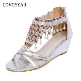 Wholesale Luxury Boho Fashion - wholesale Luxury Beaded Women's Sandals 2018 Summer Boho Wedges Ladies Sandals Back Zipper Rome Shoes Women WSS874