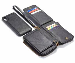 Étui pour iphone zippé en Ligne-Multifonction Zip Zipper Leather Wallet Case Card Pouch 2 in1 amovible amovible cas de couverture en PU pour iPhone XS XR Max pour Galaxy S9 S9plus