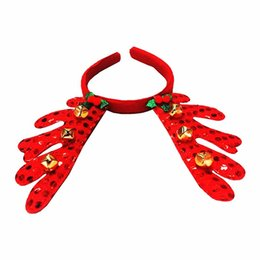 Wholesale hot santa costume - Hot Christmas Santa Claus Plush Hat Antlers Headgear Fancy Dress Costume Accessory Christmas headdress ornaments