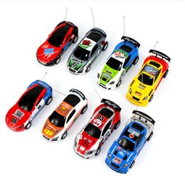 Wholesale Micro Racer Toy - Mini Coke Can Remote Control car racer Speed RC Micro Racing Car Speed Toy Cars Gift Kids collection Novelty Items FFA237 48pcs 8colors