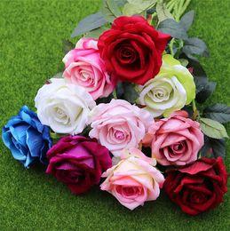 Wholesale single rose decoration - New Emulation rose wedding hand held flowers single branch high simulation flannelette rose home decoration T4H0221