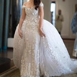 Organza pétala vestido de noiva on-line-2019 glamorous destacável sereia vestidos de noiva fora do ombro contas 3d pétalas de flores applique vestidos de noiva da arábia saudita vestido de novia