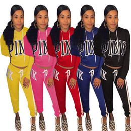 Wholesale Polyester Clothing Wholesale - Pink Letter Tracksuits Stripes Printed Hat Hoodie Pants Pullover Hoodies Pink Workout Sports Outfit Clothing OOA4785