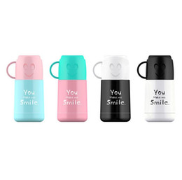 Wholesale Vacuum Water Flask - Creative stainless steel vacuum cup 210ml smiling face vacuum flasks double-deck insulated mug water bottle 4 color free ship