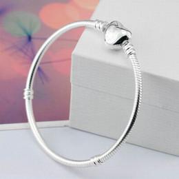 925 Silber Farbe Schlangenkette Armbänder Armreifen Fit Europäischen Charme Perlen DIY Für pan tun ras armband Geschenk Schmuck Liebe Herz mit logo von Fabrikanten
