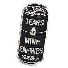 Pins de distintivo de botão on-line-Preto Latas De Bebidas Lágrimas De Mina Inimigos Pins Enamel Lapela Pinos Botão Crachá Do Punk Broches Saco Camisa Acessórios Jóias