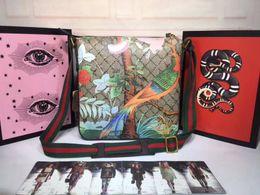 Oiseaux à main en cuir en Ligne-Imprimé tigre chat et oiseau desginer sacs à bandoulière marque en cuir véritable sac à main bandoulière sac messenger pour les hommes 29cmx 27.5cmx 3.5 cm # 406408