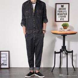 Al por mayor-Mens Denim Jumpsuit Mono de manga completa Loose Fit Bootcut Hip-Pop Jeans con cremallera Hip Casual Pantalones Mono ropa de trabajo MDB03 desde fabricantes