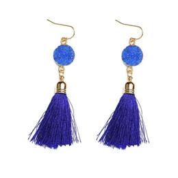 Wholesale green crystal dangle earrings - Latest Style Earrings High Quality Long Tassels Natural Stone Ear Stud Macrame Pendant Earrings Ear Jewelry For Women