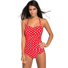 Wholesale One Piece Polka Dot - Summer Bikini Suits Women's Polka Dot Printed Sexy Halter Neck Swimsuit Bathing Padded Eur Beach Party Bikinis