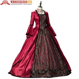 robe gothique marie antoinette Promotion Marie Antoinette Renaissance Fair Queen Gothic Hiver Robe De Fête De Noël