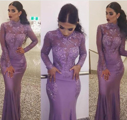 Wholesale holiday lights train - 2018 New Arrival Lavender Long Sleeves Evening Dress Appliques Lace Illusion Formal Holiday Wear Prom Party Gown Custom Made Plus Size