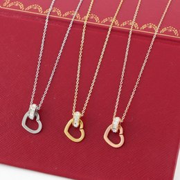 Wholesale Catering Plates - Fashion Hot Sale Necklace women fashion statement Cater Hollow Love Zircon Necklace & pendants Rose gold clavicle chain jewelry for women