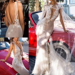 Wholesale Winter Wrap Dresses - Sexy Desinger Mermaid Wedding Dresses With Wrap 2018 Elihav Sasson Backless Bridal Gowns Full Lace Appliqued Vestido De Noiva