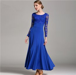 Wholesale Blue Ballroom - Hot Sale Green Adult Girls Ballroom Dance Dress Modern Waltz Standard Competition Practice Dance Dress High Quality Lace Long Sleeve Dress